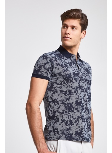 D'S Damat Slim Fit Baskılı T-Shirt Lacivert